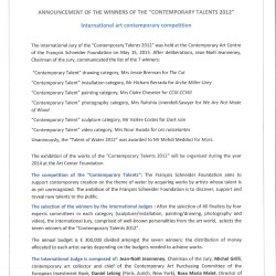 Press release, Annoucement winners