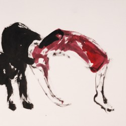 Richard Bolhuis, Beast, 2010, ink on paper, 22 x 42 cm