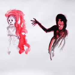 Richard Bolhuis, Death and the Girl, ink on paper, 2011, 108 x 126 cm